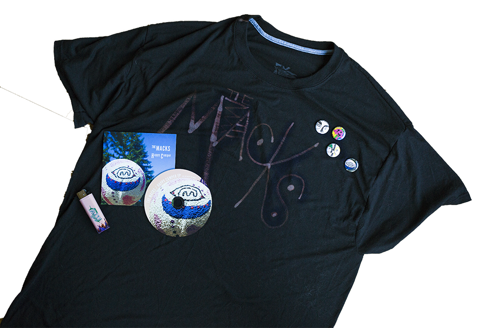 Handmade The Macks t-shirt and more band merchandise to celebrate Happy Camper EP release