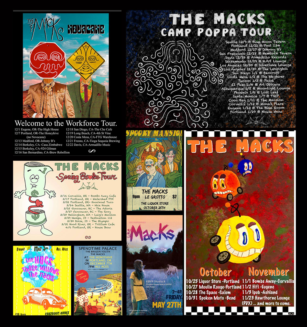 The Macks on tour poster collage